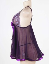 Purple Sheer Lace Babydoll With Open Back