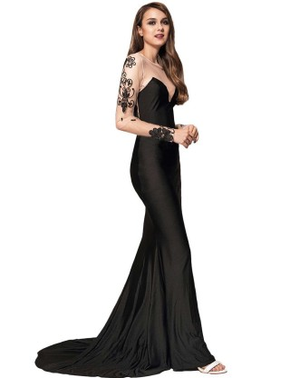 Black Delicate Long Sleeve Embroidery Flower Party Gown